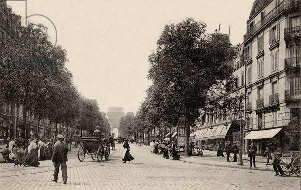 Avenue de Wagram with a Morris Column and Arc de Triomphe, Paris, 1895 (b/w photo)
