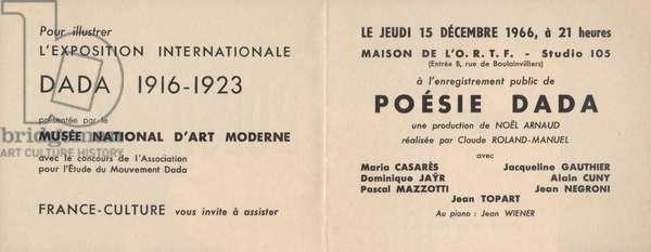 Poster for 'Poésie Dada', 1966 (litho)
