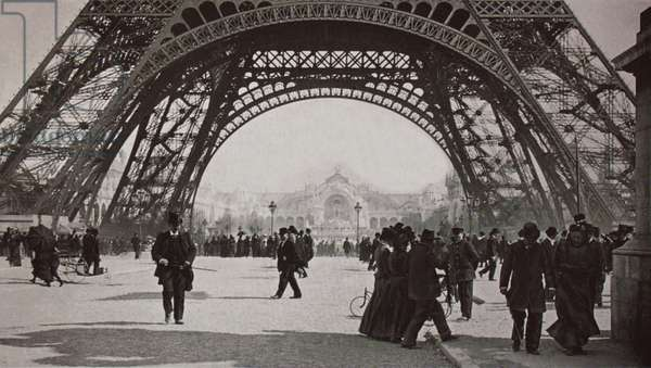 View of the Exposition Universelle through the Eiffel Tower, Paris, 1900 (b/w photo)