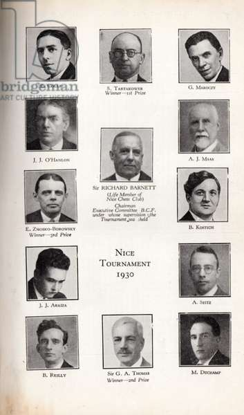 Participants of Nice Chess Tournament, 1930 (litho)