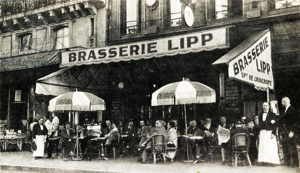 Brasserie Lipp, Boulevard St Germain, Paris, 1952 (b/w photo)