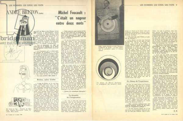 Article on Andre Breton, from 'Arts Loisirs', 11th October 1966 (litho)