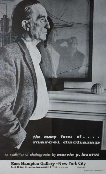 Exhibition poster for 'The Many Faces of Marcel Duchamp', an exhibition of photographs by Marvin P. Lazarus, East Hampton Gallery, New York, 1963 (litho)