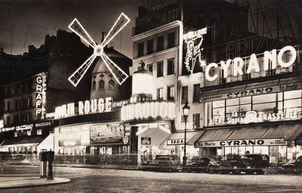 The Moulin Rouge, Brasserie Cyrano and Brasserie Graff, Paris, 1957 (b/w photo)