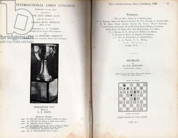 Nice International Chess Congress, 1930 (litho)
