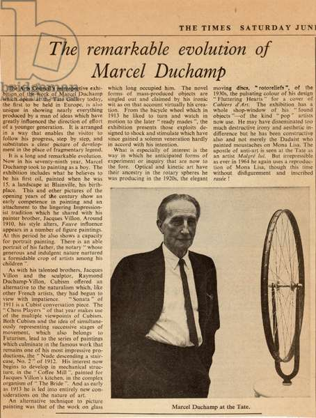 'The Remarkable Evolution of Marcel Duchamp', article in the New York Times, showing the artist in at the Tate, 1966 (newsprint)