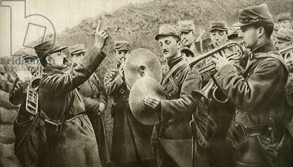 The 'Marseillaise' played in the trench, from 'Le Miroir', 17 October 1915 (litho)