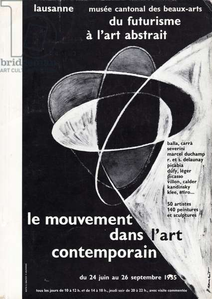 'Movement in Contemporary Art', poster for a Futurist and abstract art exhibition at the Musée Cantonal des Beaux-Arts, Lausanne, Switzerland, 1955 (litho)