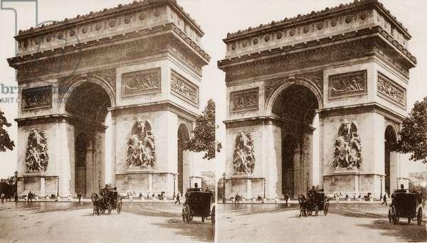 Stereoscopic view of the Arc de Triomphe, Place de l'Etoile, Paris, 1890 (b/w photo)