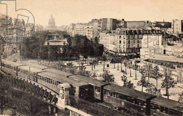 View of the Invalides and Avenue de Breteuil with metro train, Paris, 1910 (b/w photo)