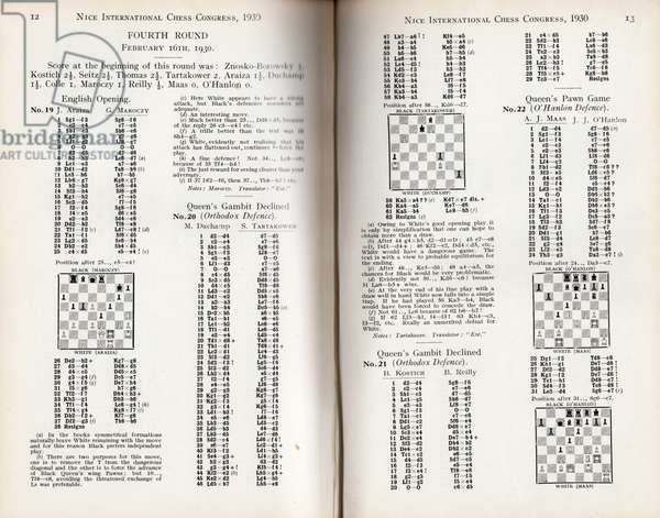 Scores from the Nice International Chess Congress Fourth Round, featuring Marcel Duchamp, 1930 (litho)
