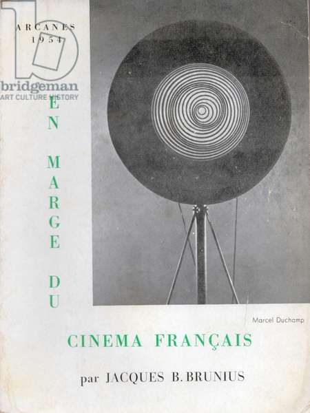 'In the Margins of French Cinema', by Jacques B. Brunius, featuring Marcel Duchamp on the cover, 1954 (colour litho)