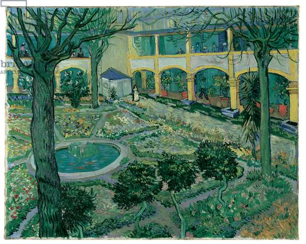 The Courtyard of the Hospital at Arles, 1889 (oil on canvas)