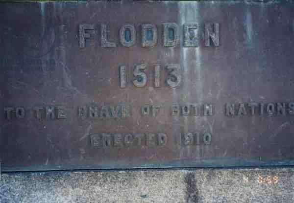 Detail of a monument commemorating the 'brave of both nations' in the Battle of Flodden, 9 September 1513, 1910 (photo)