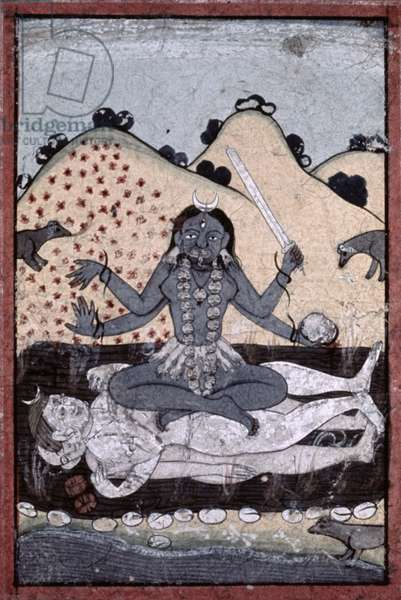 The Goddess Kali seated in intercourse with the double corpse of Shiva, Punjab