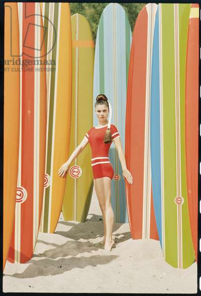 Actress Wende Wagner with surfboards on the beach in Malibu, 1966 (photo)
