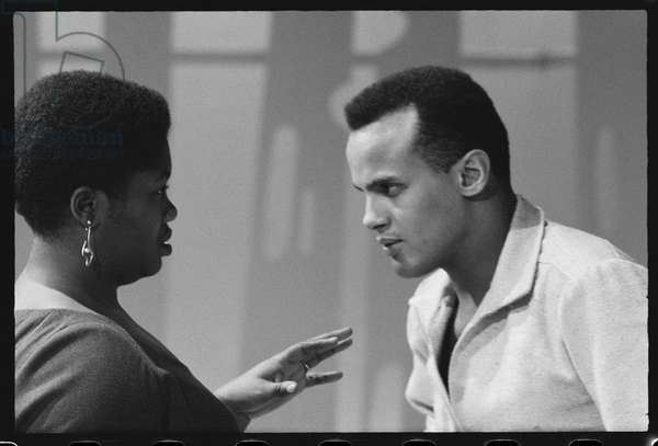 Harry Belafonte with Odetta on set of tv special, 1959 (b/w photo)