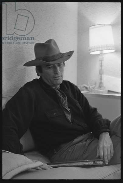 Gregory Peck in his actor's trailer, 1969 (b/w photo)