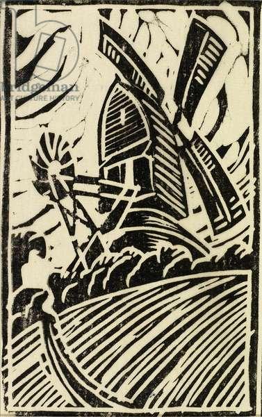 Elmers Mill, Woolpit, c.1925 (linocut)