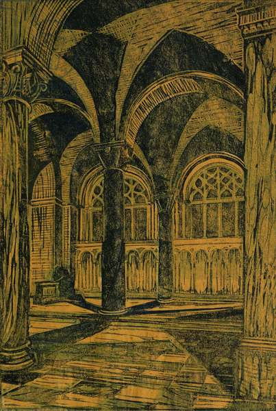 Westminster Cathedral, Evening, c. 1928 (linocut)