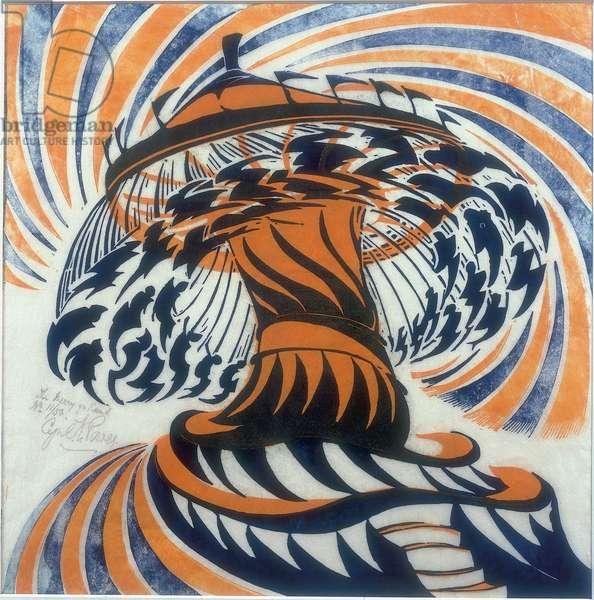 The Merry-Go-Round, c.1930 (linocut)