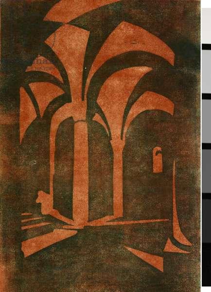 The Crypt, c.1928 (linocut)