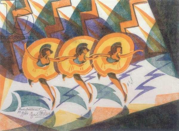 Divertissement, 1932 (linocut)
