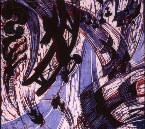 Air Raid, c.1935 (linocut)