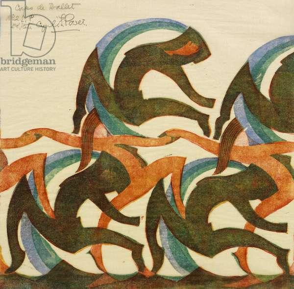 Corps de Ballet, 1932 (linocut)