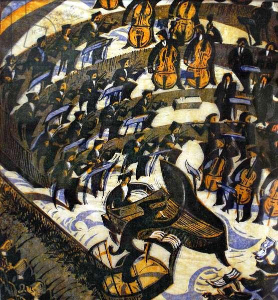 The Concerto, 1935 (linocut)