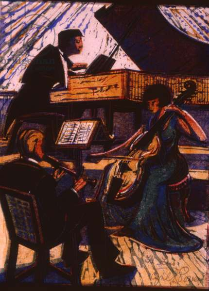 The Trio, c.1936 (linocut)