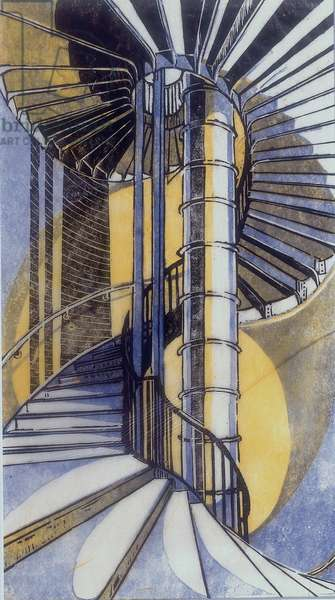 The Tube Staircase, 1929 (linocut)