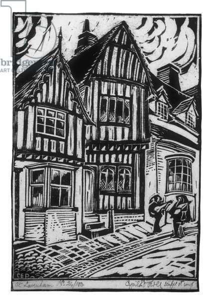 At Lavenham, c.1926 (linocut)
