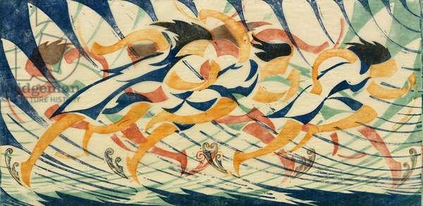 The Relay Race, c.1930 (linocut)