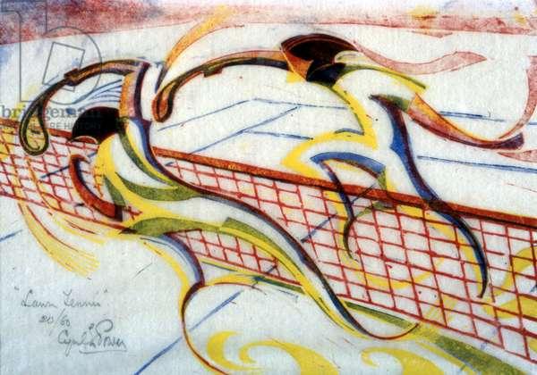 Tennis, c.1933 (linocut)