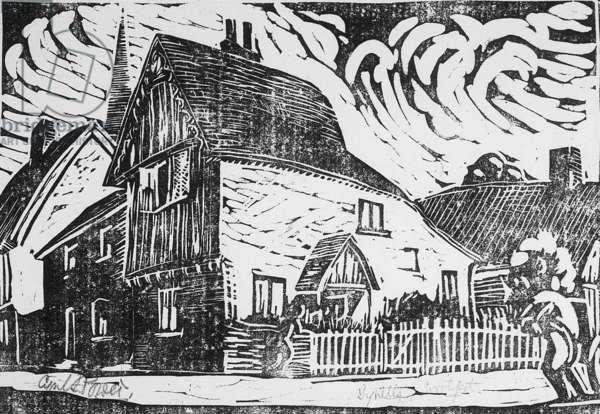 Tyrells, Woolpit, c.1926 (linocut)