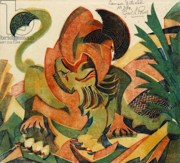 Samson and the Lion, c.1932 (linocut)