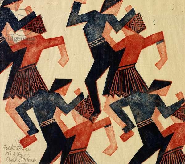 Folk Dance, c.1932 (linocut)