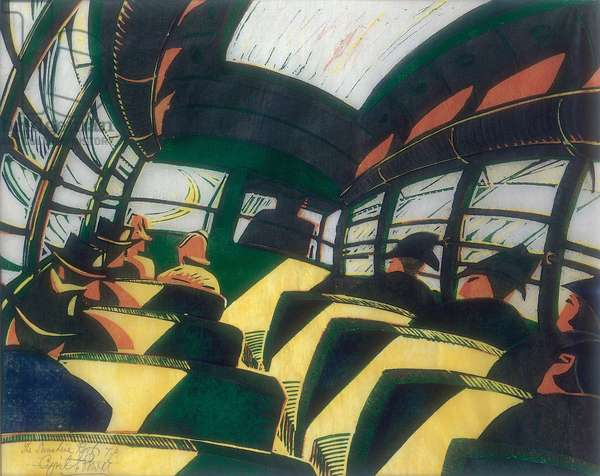 The Sunshine Roof, c.1934 (linocut)