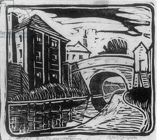 The Bridge, Rickmansworth, c.1926 (linocut)