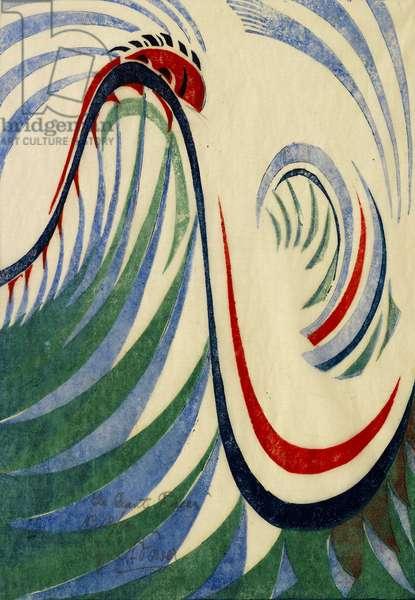 The Giant Racer, c.1930 (linocut)