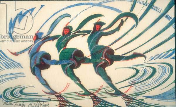 Skaters. c.1932 (linocut)