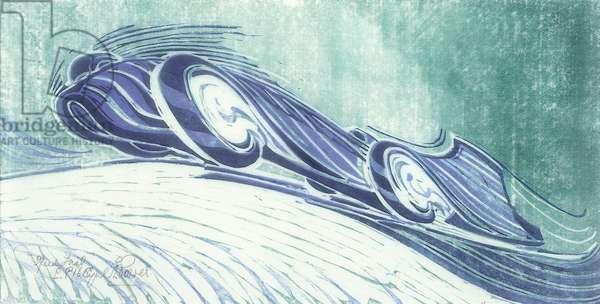 Speed Trial, c.1932 (linocut)
