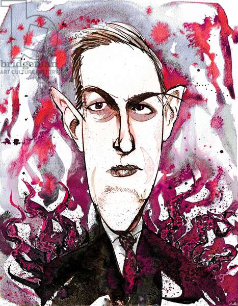 American horror and science fiction writer Howard Phillips Lovecraft (1890-1937); caricature