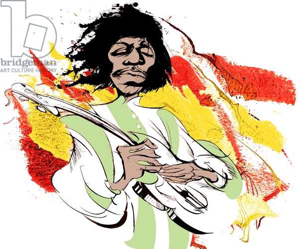 Jimi Hendrix, American guitarist (1942-70), colour caricature