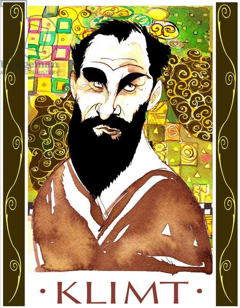 Gustav Klimt - colour caricature