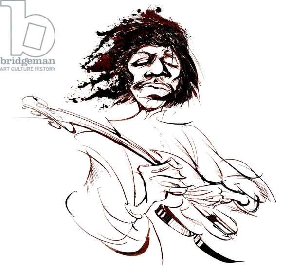 Jimi Hendrix, American guitarist (1942-70), sepia line caricature