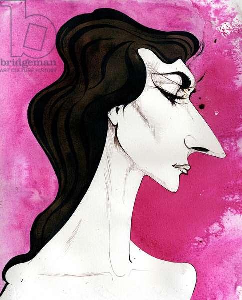 Maria Callas - caricature of the American born Greek opera singer (soprano)