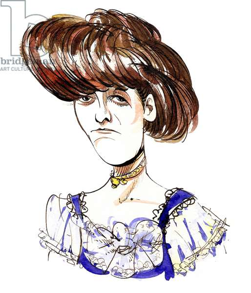 Edith Wharton - colour caricature of American novelist and short-story writer (1861-1937)