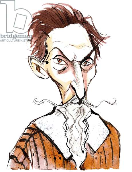 Claudio Monteverdi (1567 - 1643) Italian composer, gambist, singer and Roman Catholic priest, caricature